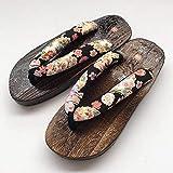 Geta Zuecos japoneses tradicionales chinos impresos chinos chinos chinos chinos chinos chinos de madera para el hogar y las mujeres zapatos al aire libre sandalias disfraz (color : 4, talla: 41)