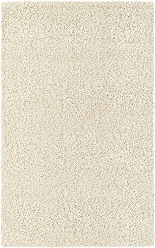 Unique Loom Solo Solid Shag Collection Area Modern Plush Rug Lush & Soft, 5' 0 x 8' 0, Ivory
