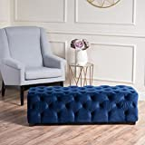 Great Deal Furniture Provence Navy Blue Tufted Velvet Fabric Rectangle Ottoman Bench