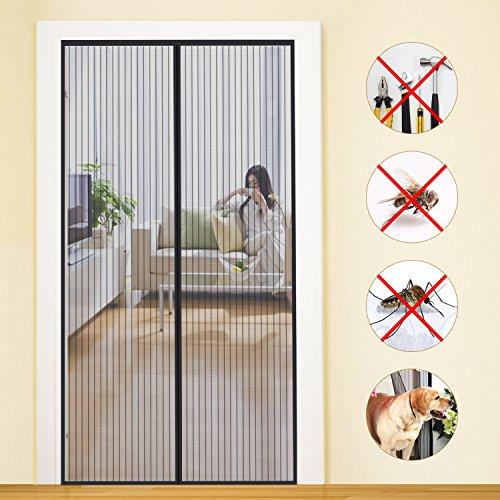 MYCARBON Magnet Fliegengitter Tür 80x200cm Insektenschutz Balkontür Fliegenvorhang | 10 x Stärker als Normales Fliegengitter - ohne Bohren - Vorhang für Balkontür Wohnzimmer Schiebetür Terrassentür
