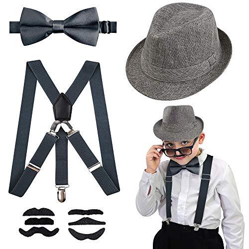 Yansion 1920s Disfraces Accesorios Flapper Gángster Chico Accesorios Sombrero Ligera con Espalda en Y Corbata de Lazo Bigote Falso Adecuado para Pascua Gatsby Boy Dress Up - L (50-52 cm )