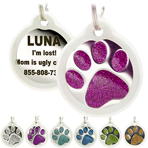 Engraved Pet Tag for Dogs, Cats with Silencer - Personalized with 4 Lines Custom Engraved ID, Round Paw Print Stainless Steel Enameled in Ocean Blue, Aquamarine, Deep Pink, Magenta, Pale Green, Amber