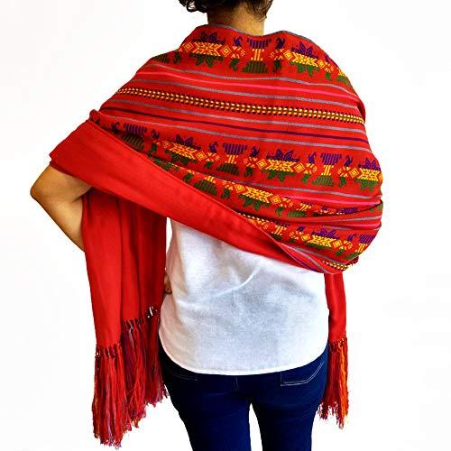 Mexikanischer reversibler Unisex-Schal handgefertigt geflochten bunt extra groß handgefertigt