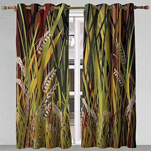 SSKJTC Kitchen Curtains Nature Reeds Dried Leaves Wheat River wild Plant Forest Farm Country Life Art Print Image Multicolor Blackout Curtains Panels for Bedroom 63x72 Inch