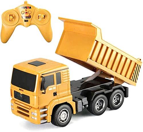Coche de control remoto para niños 8-12, excavadoras eléctricas para niños 1/18 RC Transportador Transportador Control remoto Ingeniería de automóviles Modelo de juguetes para niño, amarillo con contr