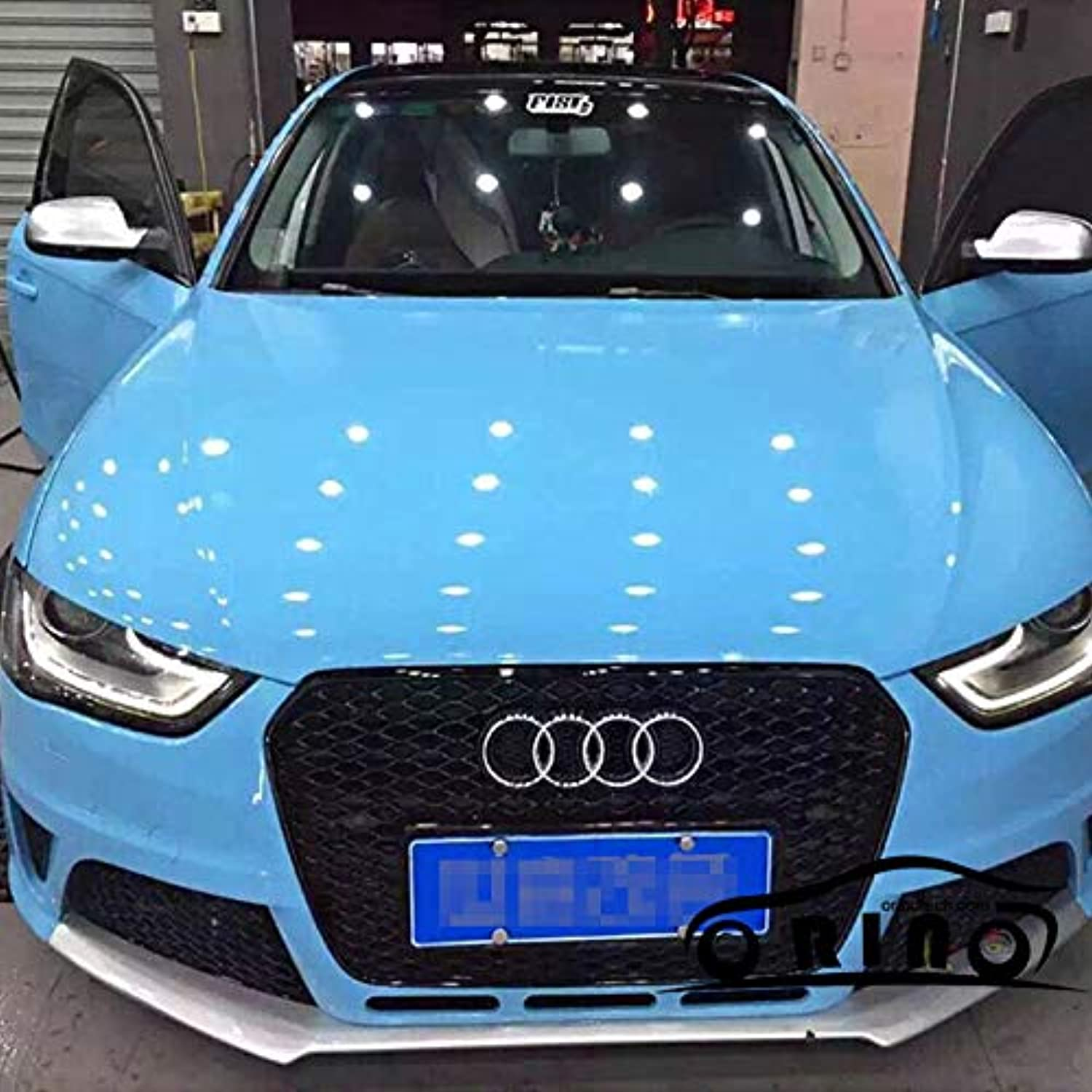 Ultra Shiny Glossy Light blueee Vinyl Wrap 3 Layers High Gloss blueee Car Wrap Film with Air Bubble Free Size 5ft X 65ft Roll