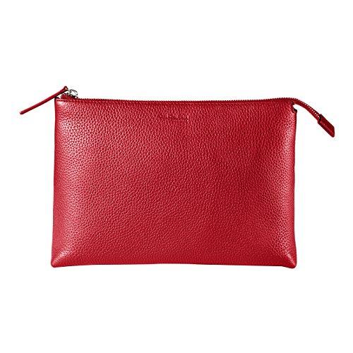 CHI CHI FAN Kulturtasche groß – Rot | geräumiger Kulturbeutel aus echtem Leder | Top Qualität und klares Design treffen auf maximale Funktion und viel Stauraum für All Ihre Kosmetikartikel