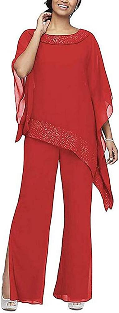 Women's Elegant Red 3 Pieces Pant Suits Set Chiffon Mother of The Bride Dress with Outfit Wedding Party US16W