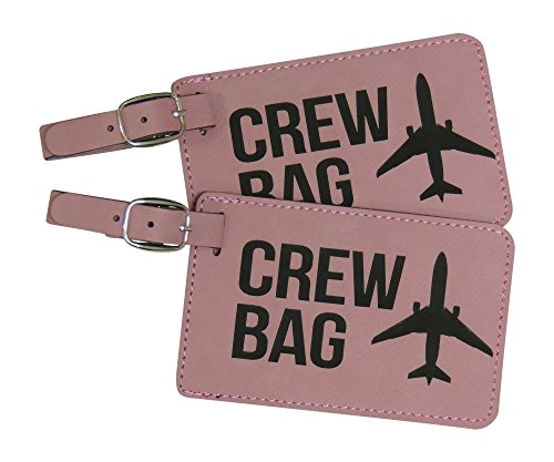 Crew Bag Tag, Set of Two with Graphic (Pink)