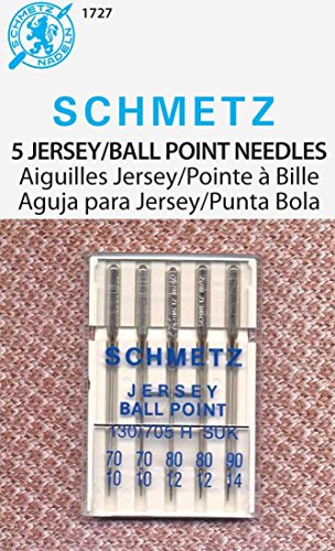 Euro-Notions Ball Point Machine Needles (Two Each Size 10 and 12, One Size 14) - 5 per Package
