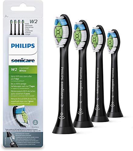 Philips HX6064/11 - Pack con 4 cabezales Optimal White para cepillos Sonicare, color negro
