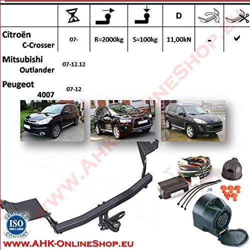 Attelage remorque avec Faisceau 13 broches | Citroen C-Crosser / Peugeot 4007 / Mitsubishi Outlander II de 2007- | col de cygne démontable avec outil