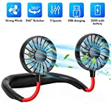 Hands Free Portable Neck Fan,Mini Portable USB Rechargeable Fan, 360 Degrees Free Rotation Perfect for Traveling, Sports, Office Room, Amusement Park, Headphone Design, Neckband Wearable (Black)