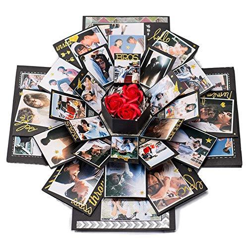 Handfly Explosión Caja de Regalo DIY Álbum de Fotos Álbum de Recortes Caja de Sorpresa Caja de Regalo para Compromiso de Boda Aniversarios de cumpleaños Regalos de San Valentín