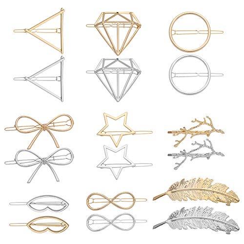 Auidy_6TXD 18 Stücke Metall Haarspangen Set, Dreieck Mond Haarspangen Joker Mode Geometrische Runde Haarspangen Mädchen Haarschmuck