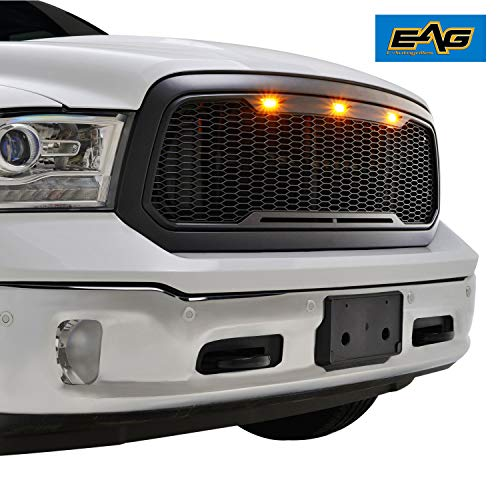 EAG Replacement Front Grille Upper Grill - Matte Black - with Amber LED Lights Fit for 13-18 Ram 1500