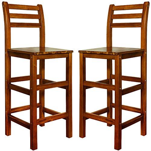 Deuba Set de 2 Taburetes de Bar Altos con Respaldo de Madera de Acacia 40,5x36x110cm sillas de Barra rústico salón Cocina