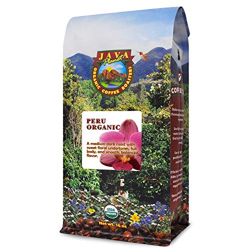 Java Planet, Organic Coffee Beans, Peru Single Origin, Gourmet Medium Dark Roast of Arabica Whole Bean Coffee, Certified Organic and Fair Trade, Grown at High Altitudes 1lb Bag