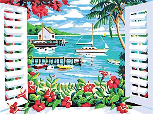 Zhonchng DIY Schilderen door Aantal Kits,Buiten Het Raam Olie Verf Tekenen Canvas met Borstels Kerst Decor Decoraties Geschenken - 16 * 20 Inch Zonder frame
