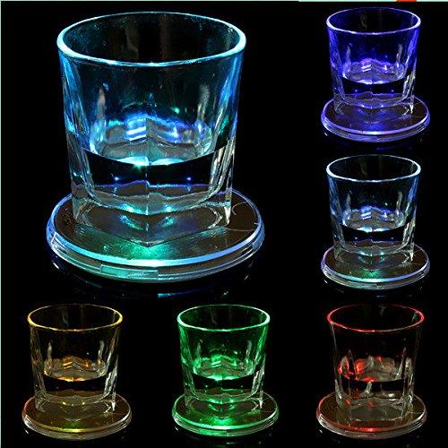 BAZAAR Verre LED variable Lumière Changement de Couleur Tasse Tapis de table