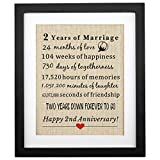 Corfara framed 2nd Anniversary Burlap Gift 11' W X 13' H, Gifts for Husband, Wife 2nd Anniversary, 2 Years of Marriage, Gifts for Couples 2nd Wedding Anniversary, Gifts for Him, Her Cotton Anniversary