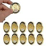 KOUPA Fichas de póker conmemorativas de 10 PCS Casino, Lucky Gold Coin, diseño...