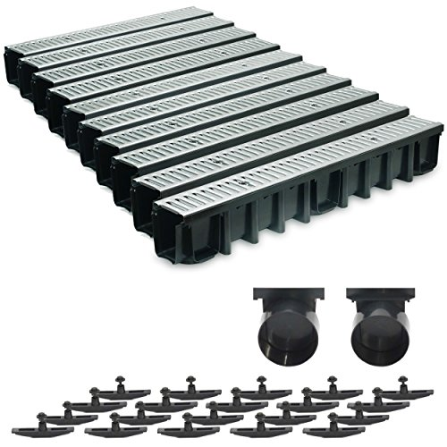 10m Entwässerungsrinne Terrassenrinne Stahlrost verzinkt komplett SET, System A15 148mm, inkl. Zubehör