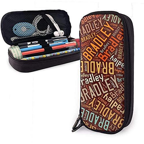 Bradley - Estuche de lápices de cuero de gran capacidad con apellido americano, organizador de papelería, organizador, marcador de oficina, bolígrafo, bolsa de viaje