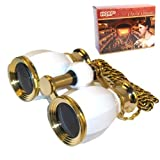 HQRP 4 x 30 Opera Glasses Binocular Antique Style White Pearl and Gold Trim w/Necklace Chain 4X Extra High Magnification with Crystal Clear Optic (CCO)