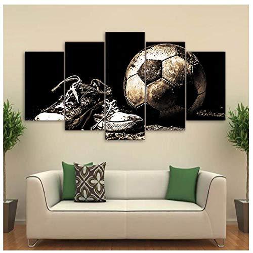 XXSCZ 5 Canvas foto's Modulaire Canvas foto's voor de woonkamer muurkunst 5 stuks voetbalschoenen Poster HD-Prints voetbalafbeeldingen Home Decor Framework 20x35 20x45 20x55 cm met frame