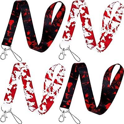 4 Pieces Blood Splatter Lanyards Halloween Bloo...