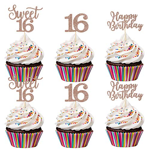 24Pcs Sweet 16 Cupcake Toppers 16 Cake Toppers Happy Birthday Cupcake Toppers- Rose Gold Glitter, Sweet 16 Birthday Decorations, Sweet 16 Cake Topper, 16th Birthday Decorations