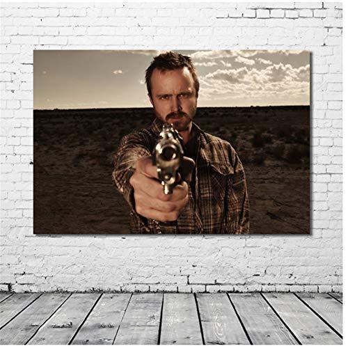 KONGQTE Breaking Bad TV Imagen de Aaron Paul Pintura de Seda Arte de Pared Carteles e Impresiones Modernas Decoraciones para el hogar -50x70cm sin Marco