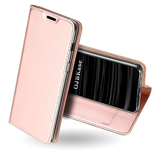 OJBKase Galaxy J6 2018 Hülle, Premium Slim PU Leder Handy Schutzhülle [Standfunktion] Hülle/Cover/Brieftasche/Ledertasche Tasche Lederhülle Handyhülle für Samsung Galaxy J6 2018 (Roségold)