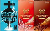 グラマラスバタフライ ストロベリー(6個入) + チョコレート(6個入) + ファイティングスピリット(12個入) Mサイズ コンドーム セット