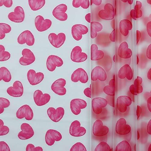 Regenjackenstoff, wasserabweisend, Durchsichtig mit Herzen in Pink als Meterware zum Nähen von Regenkleidung und Windbreaker, 50 cm