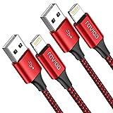 Cable iPhone Cable Lightning [2Pack 2M] Cargador iPhone MFi Certificado Carga Rápida Trenzado de Nylon Compatible con iPhone 11 Pro XS MAX XR X 8 Plus 7 Plus 6S 6 Plus 5 5S 5C SE - Rojo