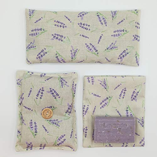 """Lavendel-PACK. Augenkissen, Lavendel-Bioseife, handgemachter Weihrauch, Mini-Kissen """"Schalf gut""""."""