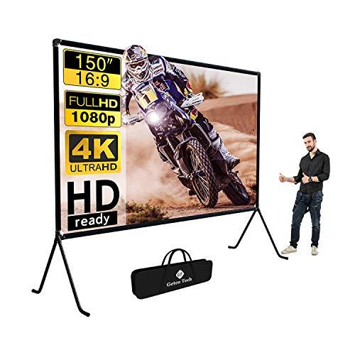 Pantalla de proyección (150 pulgadas), pantalla de proyección de película con soporte 16:9 HD, plegable para interior/exterior, proyección de vídeo para casa, fiesta, oficina, aula.