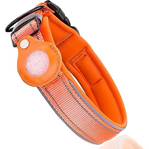 Collar de perro reflectante suave acolchado transpirable Nylon Pet Collar ajustable para perros medianos y grandes (naranja, L)