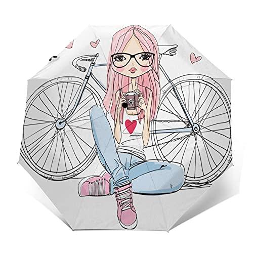 Paraguas Plegable Automático Impermeable Bicicleta de cámara de Chica Adolescente, Paraguas De...