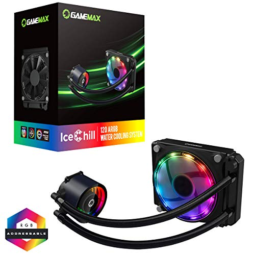 GameMax Ice Chill 120mm ARGB AIO Water Cooling System, Infinty Mirror Design, 1 x 120mm ARGB Fan,...