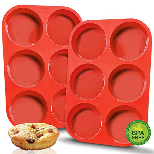 Walfos Premium Silicone Muffin Top Pan, Non-Stick Muffin Top Baking Pan, Prefect for Baking Cake, Corn Bread, Muffin Top and More, Food Grade and BPA Free (2-PK Silicone Muffin Top Pan)