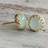 Gold Jade Ohrringe Light Green Stud 14k Gold gef?llt Jade Schmuck