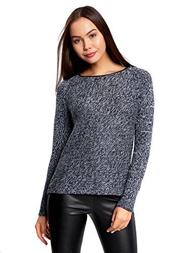 oodji Collection Damen Strukturierter Pullover mit Kontrastbesatz am Halsausschnitt, Blau, DE 42 / EU 44 / XL