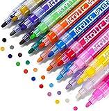 Rotuladores de pintura acrílica, RATEL 18 colores Prima Impermeable Permanente Rotuladores para pintura rupestre, proyectos de bricolaje, cerámica, vidrio, lienzo, taza, metal, madera, huevo de Pascua
