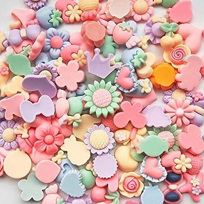 Mosheng Accessory 40pcs Mix Lots Resin Flatback Flower Bow Art Album Flatback Scrapbooking Embellishments DIY Scrapbooking Craft Accessory