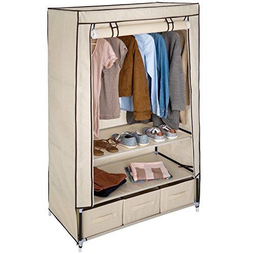 TecTake Kleiderschrank Stoffregal Garderobe Faltschrank mit 3 Schubladen & 1 Kleiderstange - Diverse Farben - (Beige | Nr. 402533)