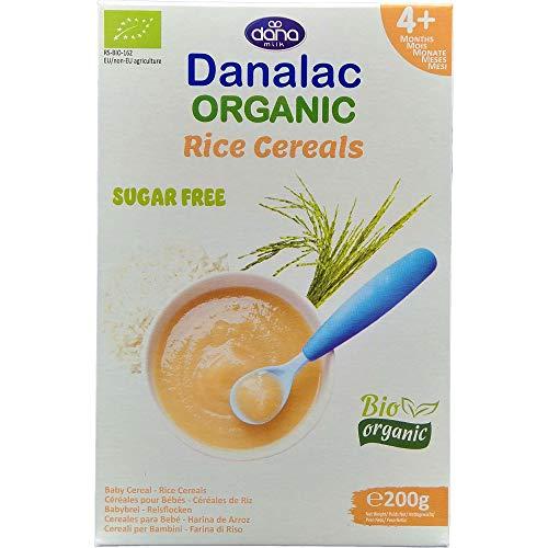 DANALAC Bio Céréales de Riz Biologique pour Bébé 200 g de Porridge Sans Sucres 4 Mois et Plus (Lot de 1)
