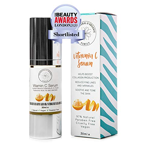 Vitamin C Serum for Face with Hyaluronic Acid, Aloe Vera, Retinol, and Vitamin E - Natural and Organic Skin Care for Beautiful and Healthy Skin - Brightening Serum for Dark Spots and Fine Lines